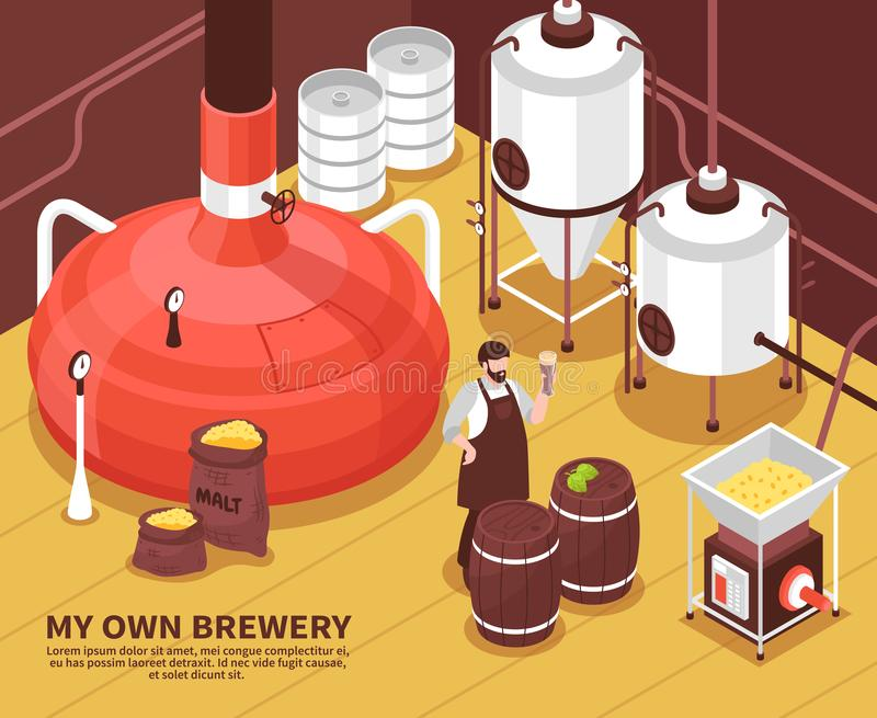 Brewery Owner Isometric Poster vector illustration