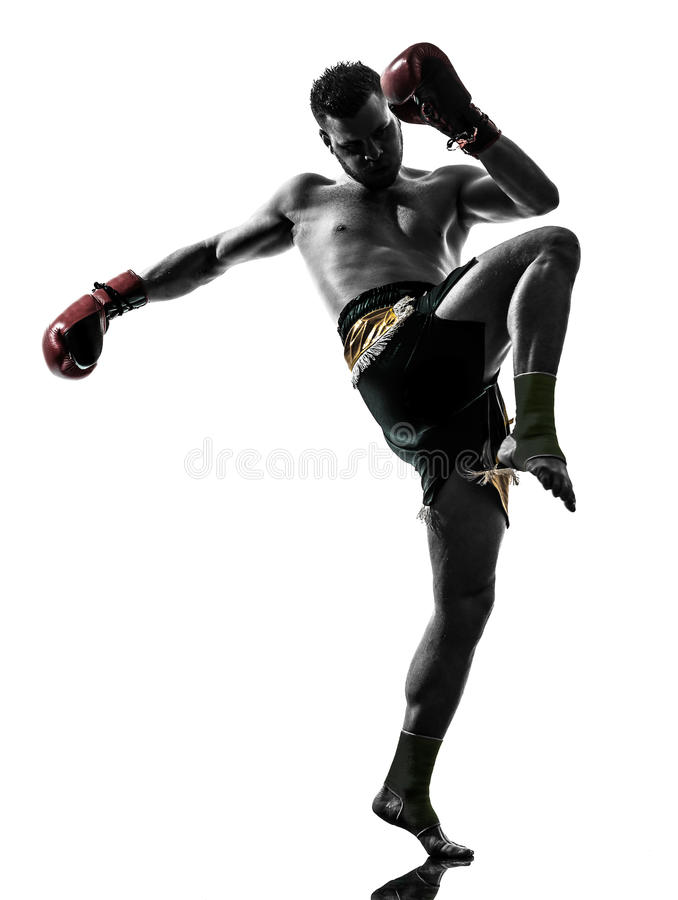 One Man Exercising Thai Boxing Silhouette Stock Images