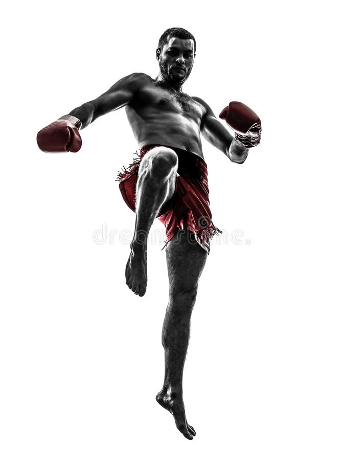 One man exercising thai boxing silhouette royalty free stock photography