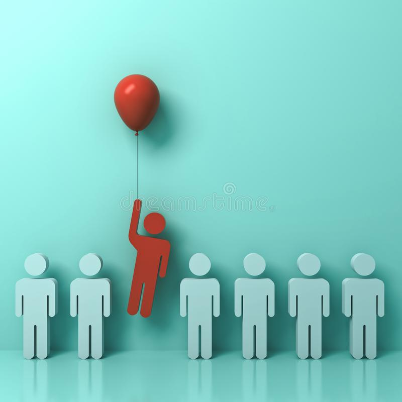 Free One Man Flying Away From Other People With Red Balloon On Light Green Pastel Color Wall Background Stock Image - 101114331