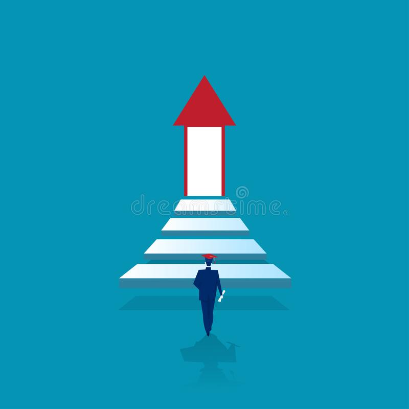 One man graduate walk up the stairs to the lighting door of success concept. Of business advancement and higher success and leadership in the highest stock illustration
