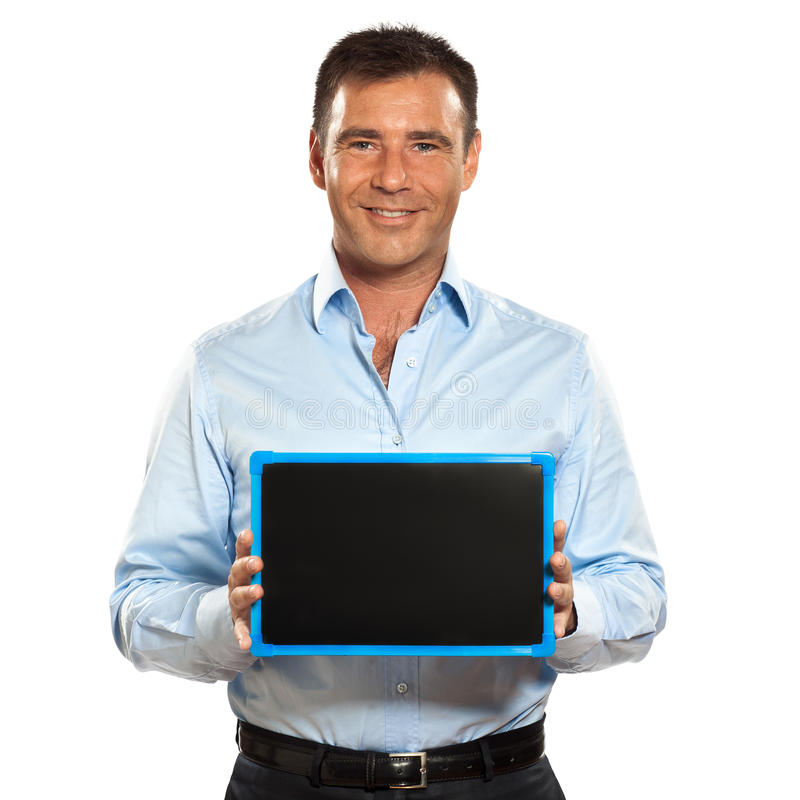 Download One Man Holding A Blackboard Copy Space Message Stock Image - Image: 23093633