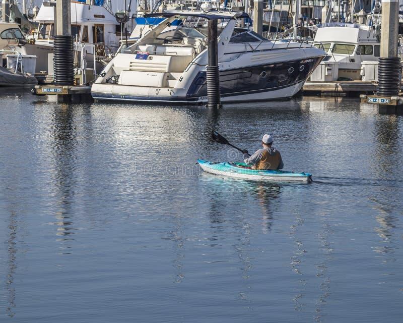 One man Kayaking at the Santa Barbara marina, California stock photography