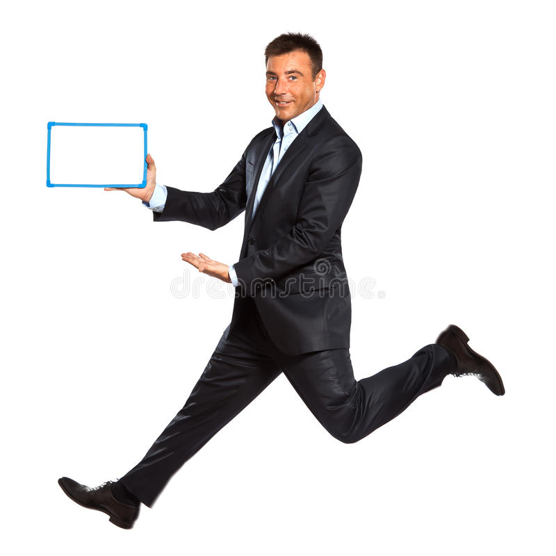 Download One Man Running Jumping Holding Whiteboard Royalty Free Stock Photos - Image: 24867748