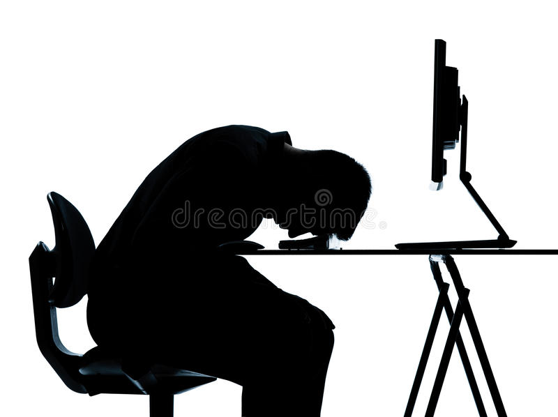 One Man Silhouette Computer Computing Sleeping Royalty Free Stock Image
