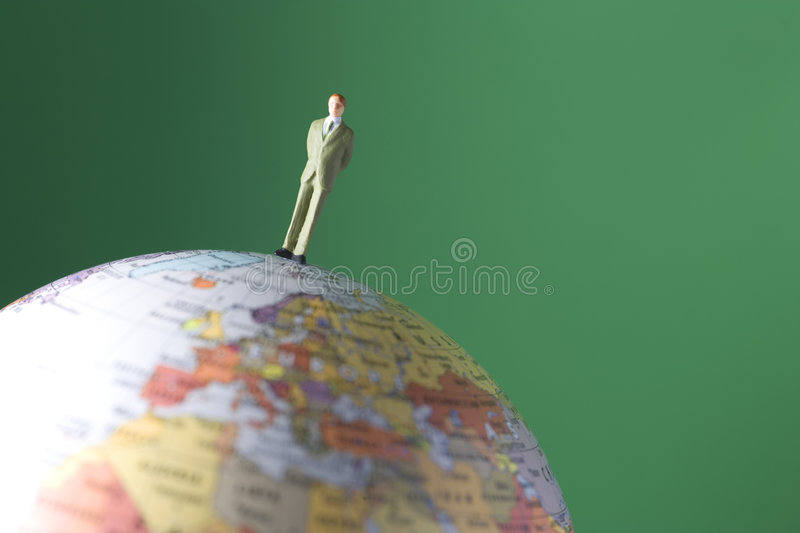 One man standing on the world royalty free stock photography