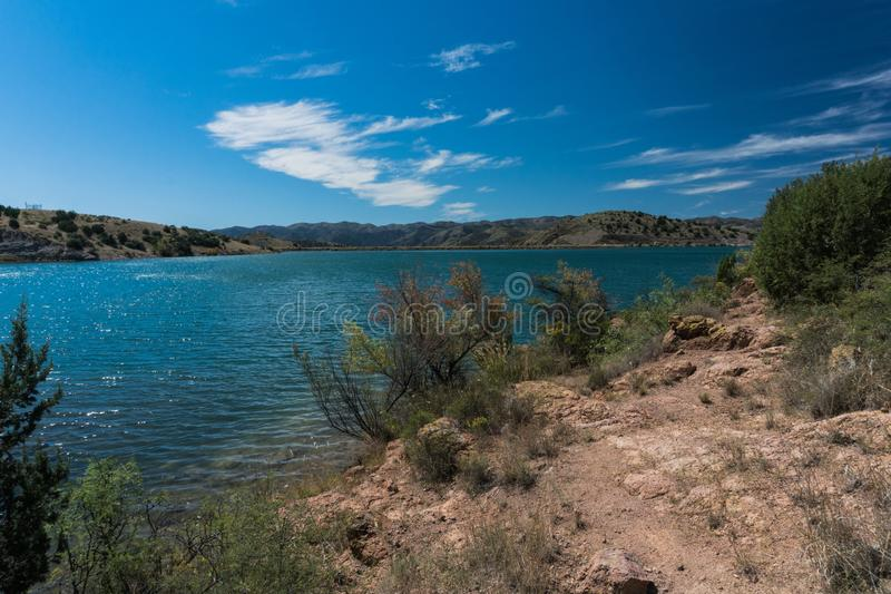 Shoreline vista of Bill Evans Lake in New Mexico. stock photography