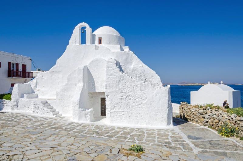 Greek Orthodox Church in Mykonos town Chora in Greece stock image