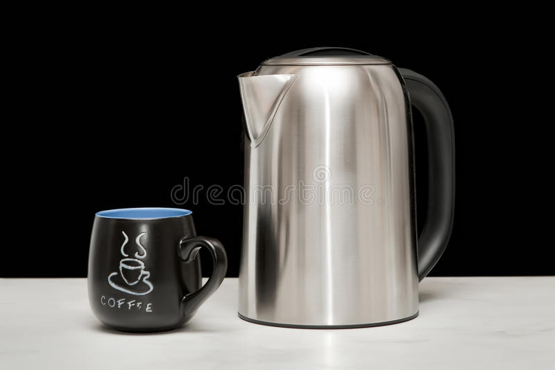 Download One Mettal Kettle And Coffee Cup Stock Photo - Image: 15917378