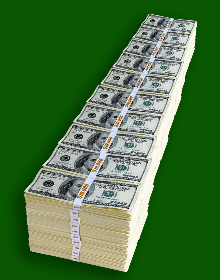 One Million Dollars. In one hundred dollar bills royalty free stock images