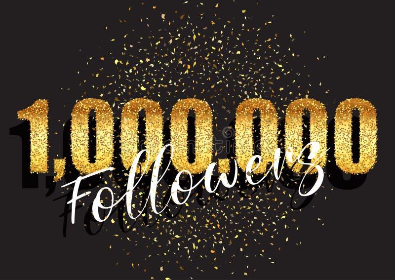 One million followers glittery celebration background vector illustration