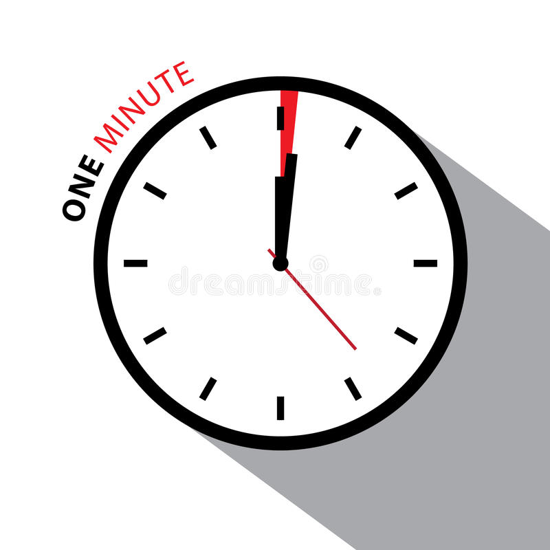 One Minute Clock. Stopwatch Countdown. Vector Clock Face Isolated on White Background stock illustration