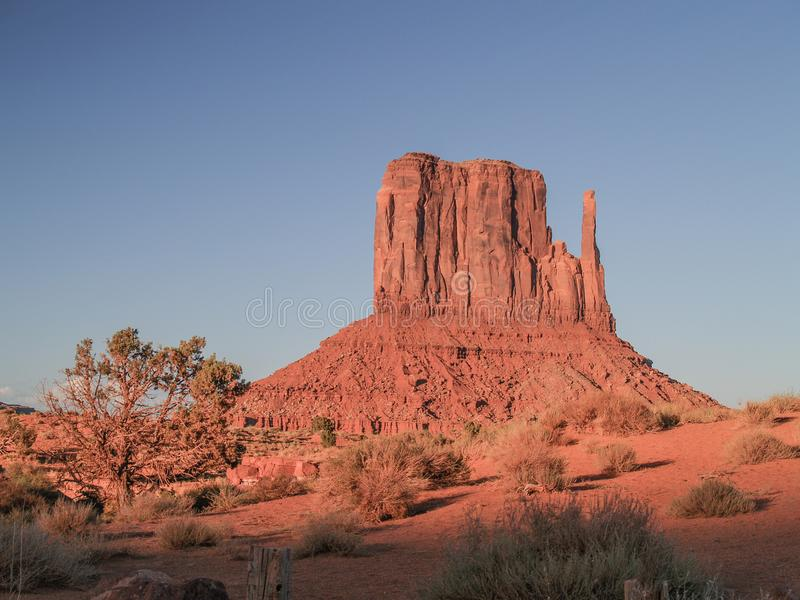 Monument Valley Mitten Formation at Sunset stock photo