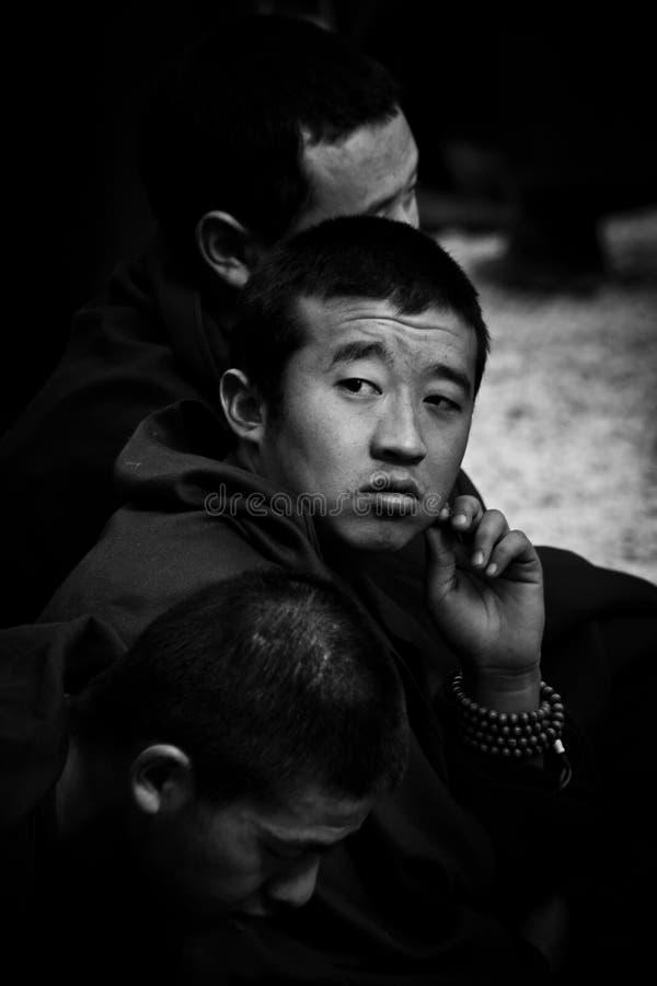 One monk of Sera Monastery Debating Monks Lhasa Tibet. One pensive monk of Sera Monastery, Lhasa, Tibet stock photo