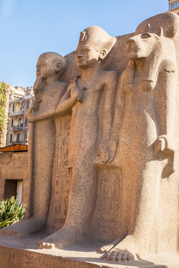One of the monuments at the Egyptian Museum stock image