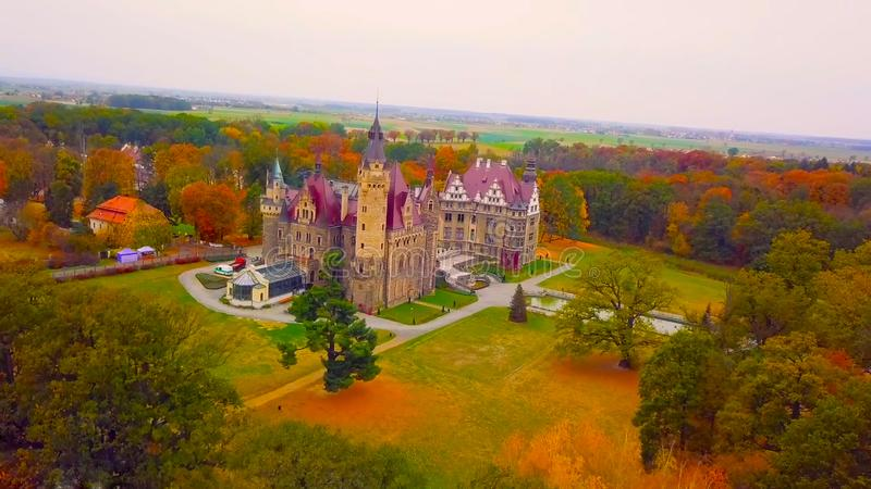 One of the most beautiful palaces in the middle of the forest - natural air - a place more than wonderful - beautiful northern. Poland royalty free stock photo