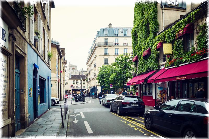 One of the most beautiful Parisian streets in Marais district, rue Rosiers stock photos