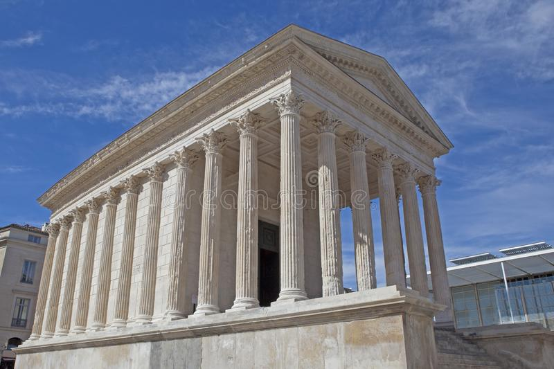 Maison-Carrée, Roman temple at Nîmes, France. One of the most beautiful and well-preserved temples of the Roman world, the Maison Carrée `Square House` stock images