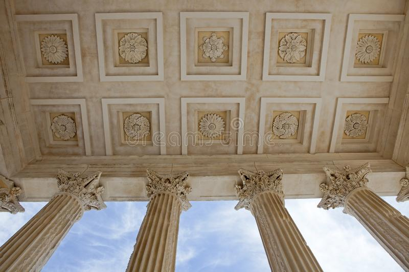 Maison-Carrée, Roman temple at Nîmes, France. One of the most beautiful and well-preserved temples of the Roman world, the Maison Carrée `Square House` stock photography
