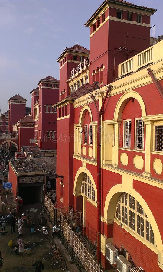 Howrah Railway Station, External view, Kolkata, India. One of the most busiest railway stations in India, Howrah railway station. An outside view stock image