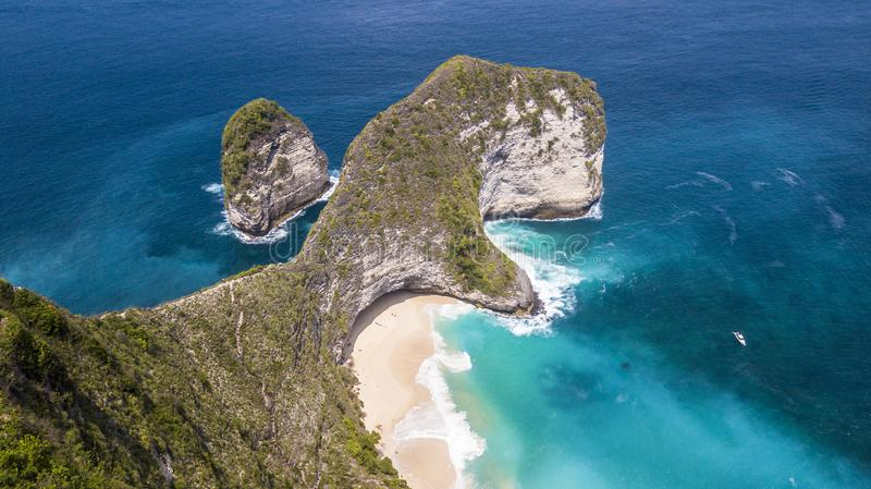 One of the most famous beaches. With cliffs in Indonesia royalty free stock image