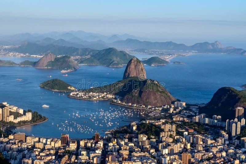 Sugarloaf, Botafogo Beach and Guanabara bay at sunset stock image