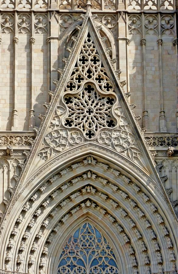 A Detail in the front of the cathedral in Barcelona stock photography