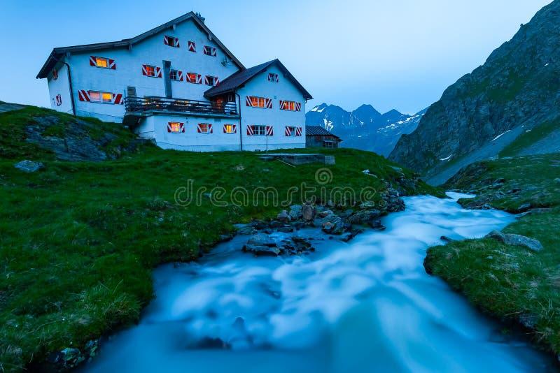 One of the mosty beautiful mountains cottage in Austrian Alps, Stubai Mountains, Tyrol, New Regensburger mountain hut royalty free stock photos