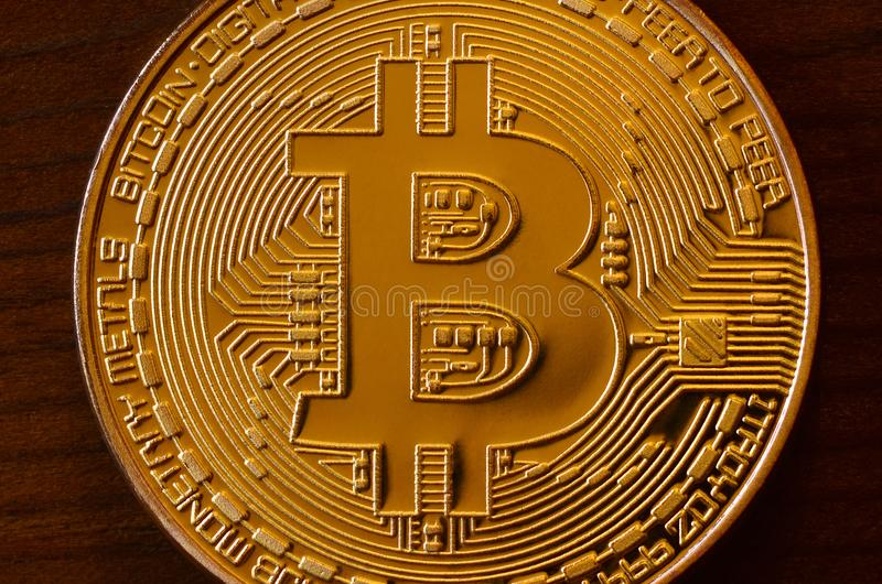 One new golden physical bitcoin is lies on dark wooden backgound, close up. High resolution photo. Cryptocurrency mining concep stock photo