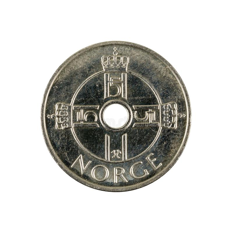 One norwegian krone coin 2010 royalty free stock photos