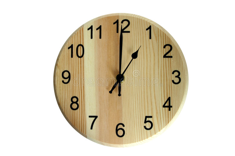 One o'clock. An isolated wooden clock showing one o'clock royalty free stock image