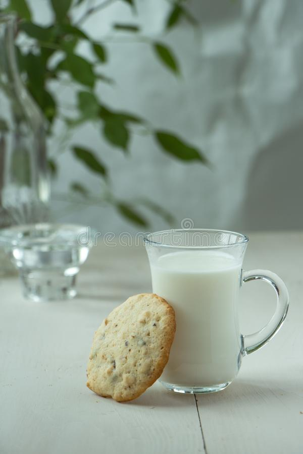 One Oatmeal cookies with small glass of milk at wooden background, light and white photography in a rustic style. Oatmeal cookies with a glass of milk, light and royalty free stock photography