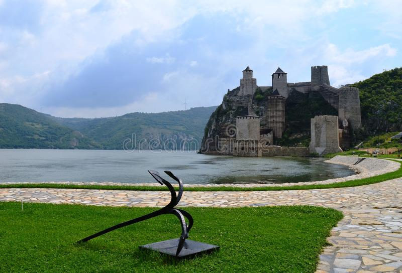 Old castle by the lake. One old castle by the lake stock photos