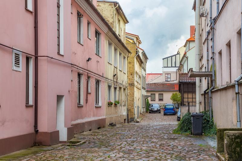 One of the old streets in the historical center of the Klaipeda (former german name of town is Memel). Lithuania. One of the old streets in the historical royalty free stock images