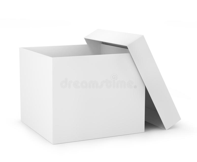 One Open Carton Box In White Color (3d Render) Stock ...