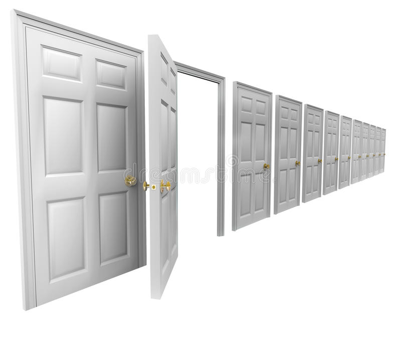 One Open Door Many Doorways Closed Leave Escape Plan Exit Strate royalty free illustration