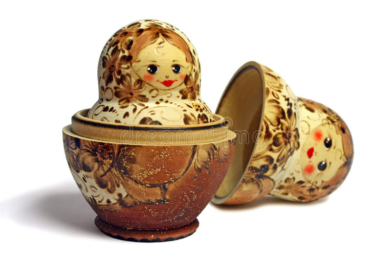 One opened beige and brown matrioshka stock photography