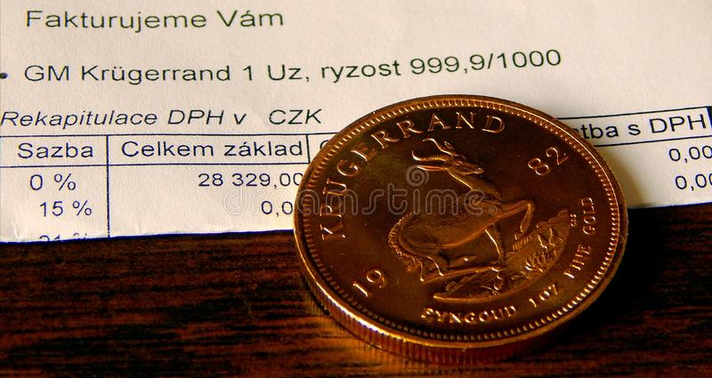 Apartheid Gold Era. One ounze of Fine Gold from South Africa from Apartheid Era royalty free stock photos