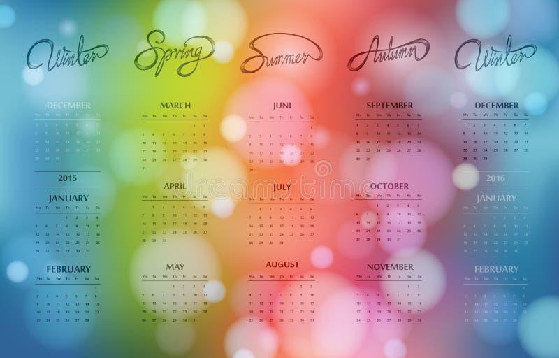 One page bokeh calendar design 2015 stock photos