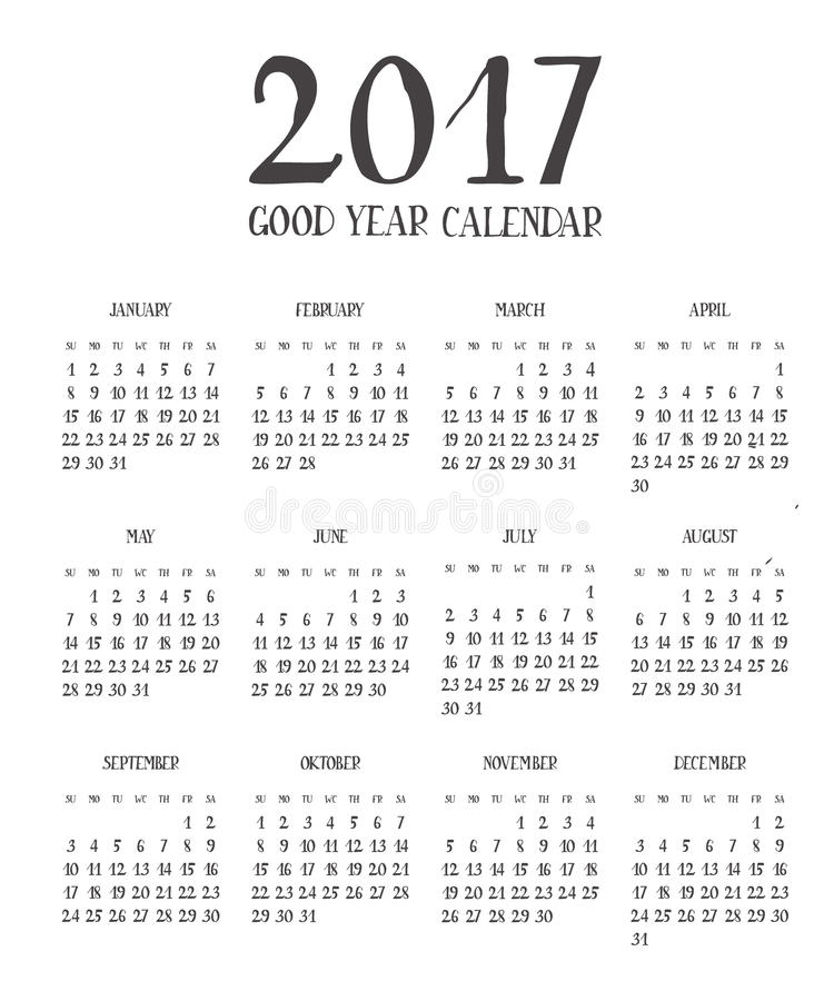 one page calendar 2017 with lettering months stock illustration