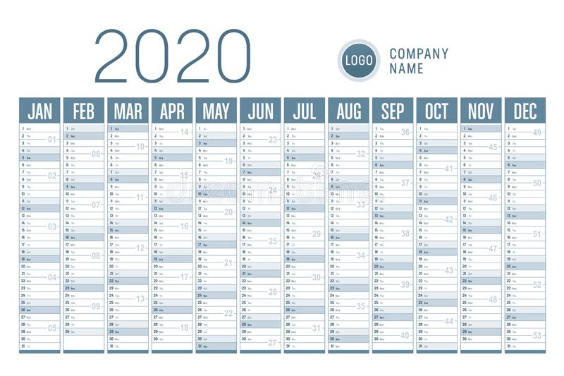 2020 one page calendar vector illustration