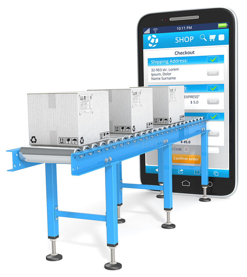 One page checkout. Industrial Conveyor with cardboard Boxes connected to Smartphone. Checkout page stock illustration