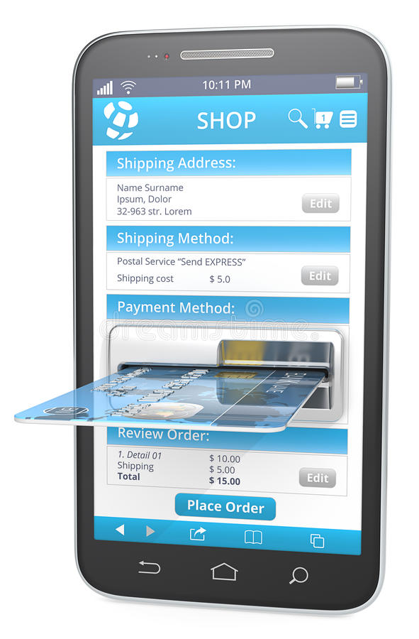 One Page Checkout. Smartphone with Credit Card Slot. Web Shop with blue checkout page stock illustration