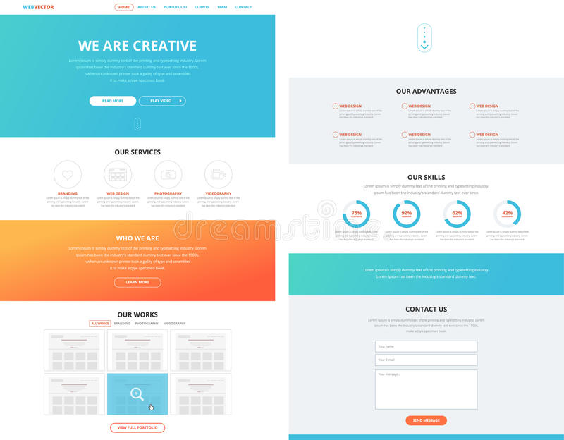 One page flat website design template concept royalty free illustration