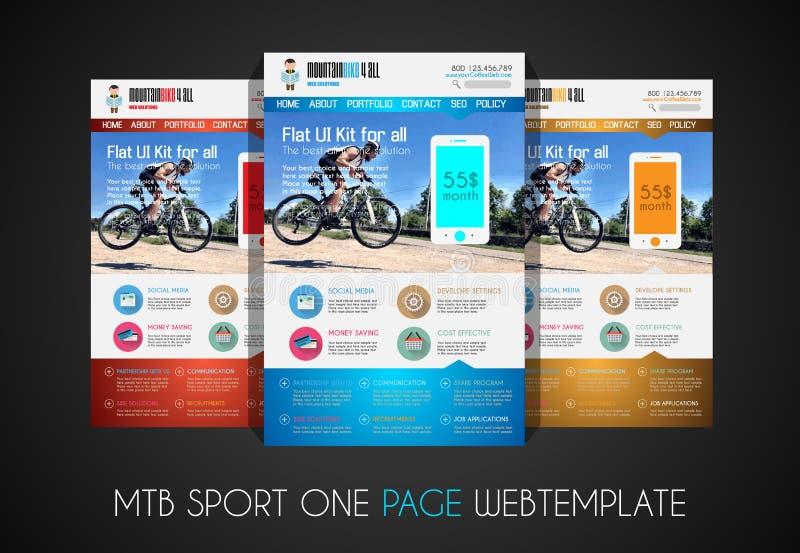One page SPORT website flat UI design template stock illustration