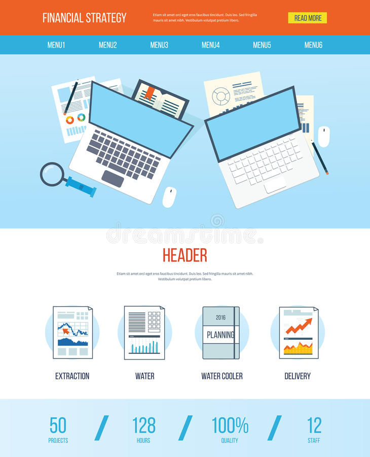 One Page Web Design Template With Icons Of Financial Strategy Stock