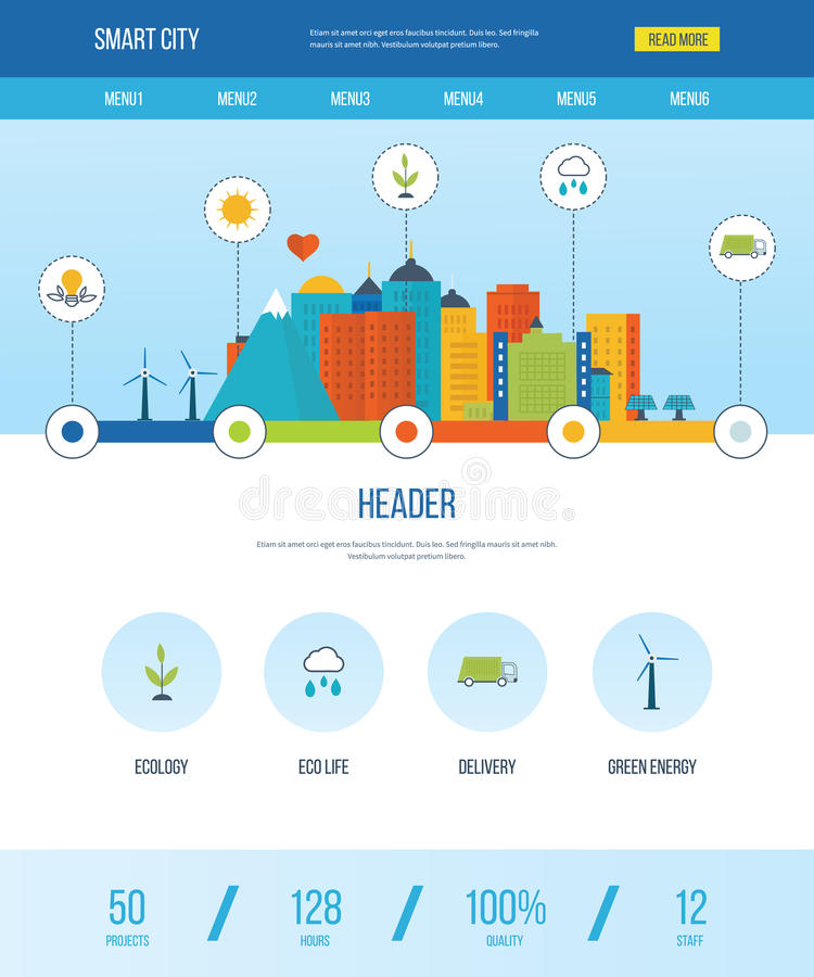 One page web design template with icons of smart city. stock illustration
