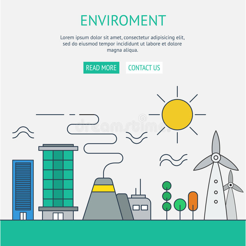 One page web design template with thin line icons of planet ecol vector illustration