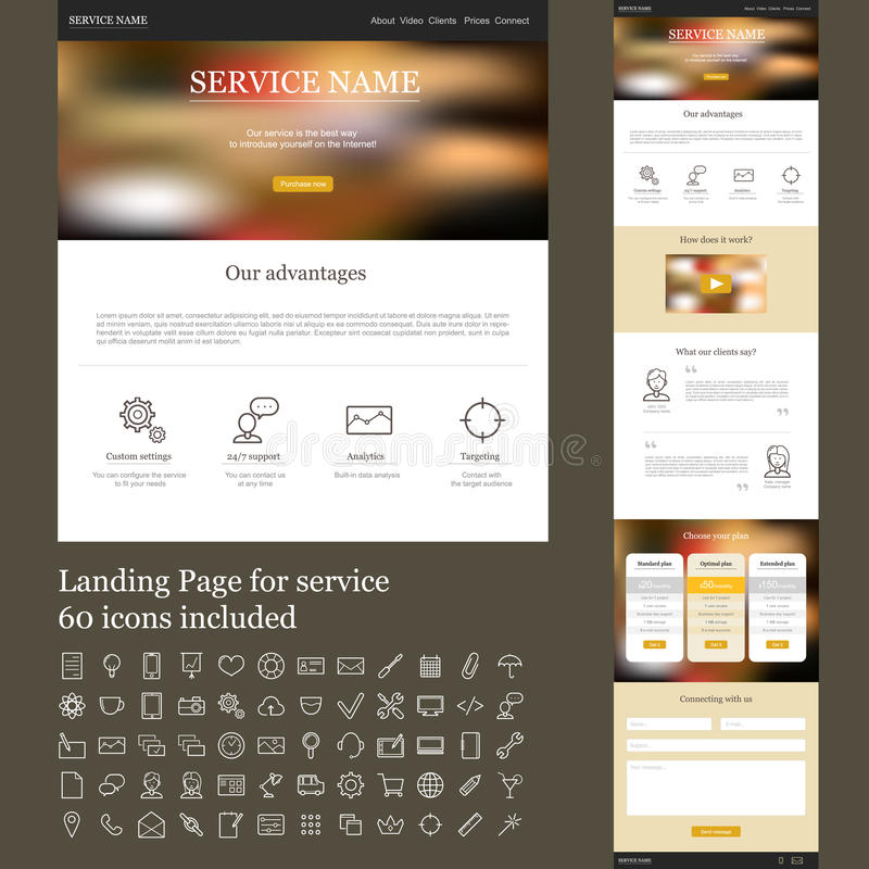 One page web site for service royalty free illustration