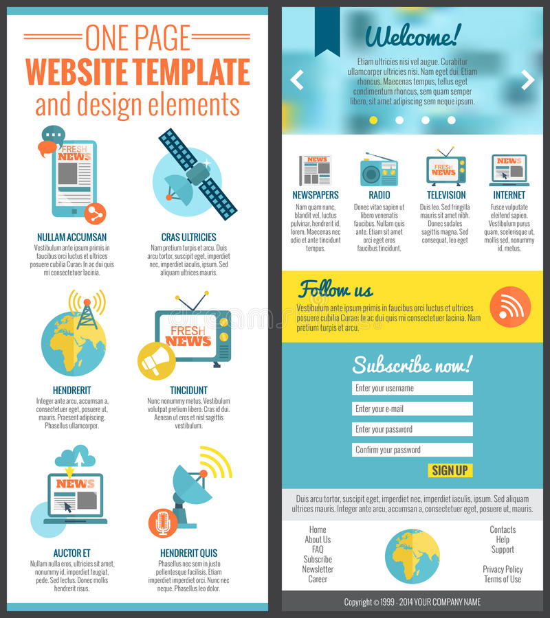 One page web site template. For mass media comunication industry vector illustration stock illustration